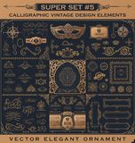 Kaligraficzni roczników elementy Wektorowy baroku set Projekt ikony Obrazy Royalty Free