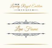 Kaligraficzny luksus linii logo Rozkwita eleganckiego emblemata monogram Królewski rocznika divider projekt royalty ilustracja