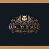 Kaligraficzny Luksusowy logo Emblemata wystroju eleganccy elementy Rocznik Obrazy Stock