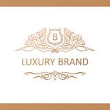 Kaligraficzny Luksusowy logo Emblemata wystroju eleganccy elementy Rocznik Fotografia Royalty Free