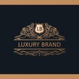 Kaligraficzny Luksusowy logo Emblemata wystroju eleganccy elementy Rocznik Zdjęcia Stock