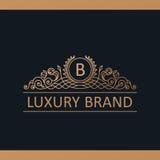 Kaligraficzny Luksusowy logo Emblemata wystroju eleganccy elementy Rocznik Obraz Stock