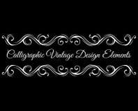 kaligraficzny projektów elementów wektora obrazu Zawijas wiruje, ślimacznicy filigree rama, dage divider wektor royalty ilustracja