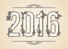 Kaligraficzny rok liczba 2016 Wektorowy projekta tło Zawijas ilustracja royalty ilustracja