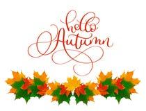 Kaligrafii literowania teksta jesień cześć piękna rama żółci liście Fotografia Royalty Free