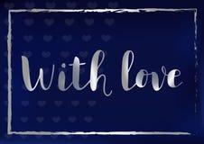 Kaligrafii literowanie Z miłość z srebro ramą na błękitnym tle i listami stylizował jako aksamit ilustracja wektor