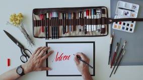 Kaligrafii pisania i set zdjęcie wideo