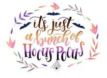 Kaligrafii sztuki plakat, sztandar dla Halloweenowego `/ja ` s właśnie wiązka Hocus Pokusa ` royalty ilustracja
