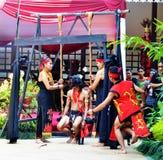 Kalimantan Dancing. Tari Kalimantan diselenggarakan di TMII Royalty Free Stock Photo