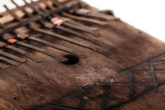 Kalimba. An african instrument named Mbira,  that consists of a wooden board with attached staggered metal keys Stock Photo