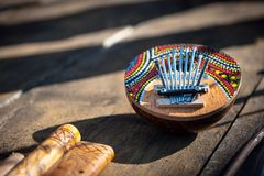 Kalimba thumb piano wooden musical instrument Stock Photos