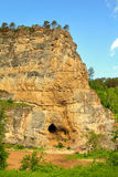 Kalimoskan rock with cave in southern Ural Royalty Free Stock Photo