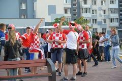 Kaliningrad, Ρωσία Ανεμιστήρες της εθνικής ομάδας της Κροατίας στην οδό πόλεων Το Παγκόσμιο Κύπελλο της FIFA στη Ρωσία Στοκ εικόνα με δικαίωμα ελεύθερης χρήσης
