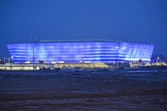 Kaliningrad, Ρωσία Βαλτικό στάδιο χώρων για τα παιχνίδια εκμετάλλευσης του Παγκόσμιου Κυπέλλου της FIFA του 2018 τη νύχτα στοκ φωτογραφίες με δικαίωμα ελεύθερης χρήσης