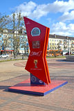 Kaliningrad, Ρωσία Ώρες της αντίστροφης μέτρησης του χρόνου πριν από το Παγκόσμιο Κύπελλο της FIFA του 2018 στη Ρωσία Στοκ Εικόνα