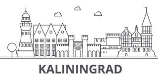 Kaliningrad architecture line skyline illustration. Linear vector cityscape with famous landmarks, city sights, design. Icons. Editable strokes Royalty Free Stock Photography