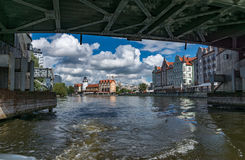 Kaliningrad. Beautiful view of the `Fish Village` of the Pregel river Royalty Free Stock Images