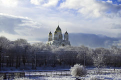 Kaliningrad. Cathedral in city centre. Russian Cathedral in Kaliningrad. Winter landscape Royalty Free Stock Photos