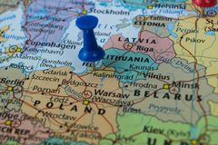 Kaliningrad city pinned on a map of Russia among other World cup 2018 venues Stock Images