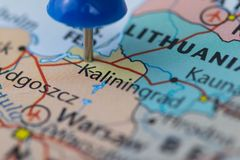 Kaliningrad city pinned on a map of Russia among other World cup 2018 venues Royalty Free Stock Images