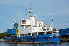 Dredging ship at the pier Royalty Free Stock Photos