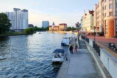 Kaliningrad. Embankment of the Fishing Village Royalty Free Stock Photography
