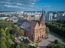 kaliningrad för ön för tegelstenbyggnadsdomkyrkan pregel gotisk konigsberg stil Kaliningrad förr Koenigsberg, Ryssland arkivfoto