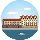 Kaliningrad by för fiskkaliningrad koenigsberg Flodstation Arkivfoton