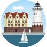 Kaliningrad by för fiskkaliningrad koenigsberg Fyr Arkivfoto
