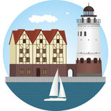 Kaliningrad. Fish village. Lighthouse Stock Photo
