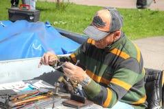 Kaliningrad Glassblower przy pracą obrazy stock
