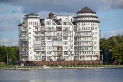 Kaliningrad. A housing estate on the bank of the lake in day royalty free stock photos