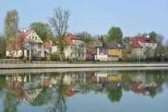 Kaliningrad Lo stabilimento del cottage sulla banca della La del grano Immagine Stock Libera da Diritti