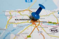 Kaliningrad on map. Macro shot of Kaliningrad on map with push pin stock photos