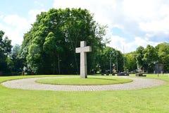 Kaliningrad. Memorable cross Stock Photo