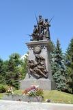 Kaliningrad Monumentet till ryssen tjäna som soldat vem har stupat in Arkivbild