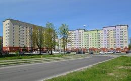 Kaliningrad Nya hus på den Osennyaya gatan Arkivbilder