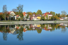 Kaliningrad Panorama dell'argine di autunno del lago grain Immagini Stock Libere da Diritti