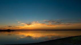 Kaliningrad, periferia, tramonto, baia del Mar Baltico Immagine Stock Libera da Diritti