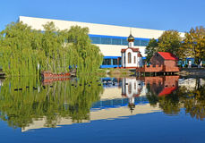 Kaliningrad. A pond with model of a wooden sailing vessel and ch Royalty Free Stock Images