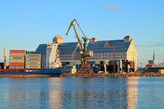 The Kaliningrad port in the evening in August. KALININGRAD, RUSSIA — AUGUST 26, 2014: The Kaliningrad port in the evening in August Stock Image