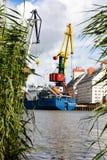 Kaliningrad, Rússia - 8 de julho de 2019: Navios e guindastes de carga no porto de pesca principal do mar foto de stock royalty free