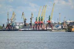 KALININGRAD, RÚSSIA - 3 DE MAIO DE 2015: Guindastes no Kaliningrad tr Imagens de Stock
