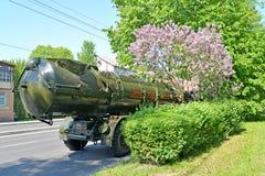 Kaliningrad, Rússia Um sistema de mísseis de ` litoral do reduto do ` da defesa em Sovetsk o prospeto após a parada em honra do V imagens de stock royalty free