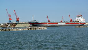 Kaliningrad region, Rosja Cechy ogólnej DONGEBORG cargoship w port morski wody terenie zdjęcie stock