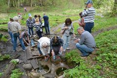 KALININGRAD REGION, RUSSIA. Tourists gather water from the spring on the river bank Blue. KALININGRAD REGION, RUSSIA - APRIL 29, 2018: Tourists gather water from royalty free stock photo