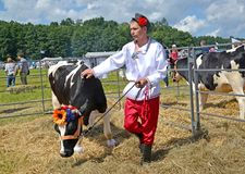 KALININGRAD REGION, RUSSIA. The male cattle breeder leashes a cow of black and motley breed. Agricultural holiday. KALININGRAD REGION, RUSSIA - AUGUST 05, 2017 Royalty Free Stock Image