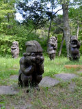 KALININGRAD REGION, RUSSIA. Wooden sculptures  'Gnomes' in a forest park Royalty Free Stock Images