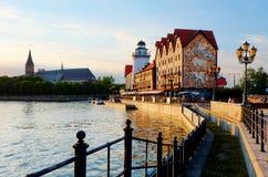 Kaliningrad Remblai du village de pêche photo libre de droits