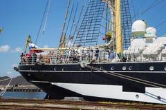 KALININGRAD ROSJA, CZERWIEC, - 19, 2016: Stern dziejowy barque Kruzenshtern przeor Padua obraz stock
